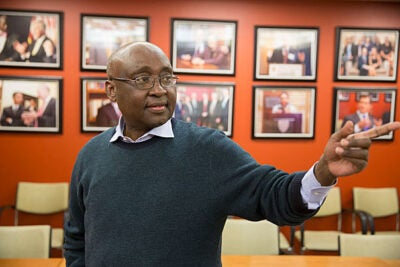 """""""We are firm believers in the concept that development is not simply about money. If development was about money only, Libya would be the most developed country in the world,"""" said Donald Kaberuka, the former president of the African Development Bank who is now the Hauser Leader-in-Residence at Harvard Kennedy School's Center for Public Leadership."""