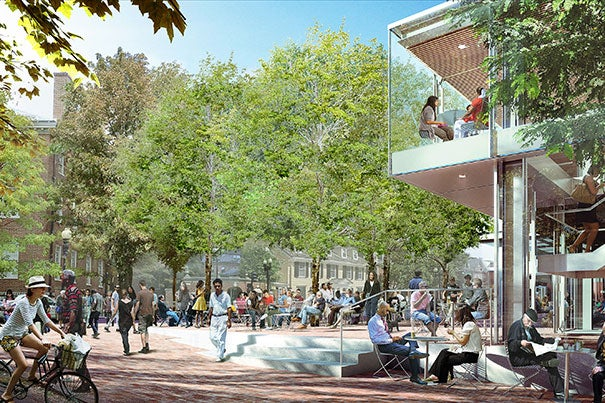 Designs for the  Richard A. and Susan F. Smith Campus Center will include a transparent pavilion facing Massachusetts Avenue. The Cambridge Board of Zoning Appeal gave its approval to renovation plans last night.