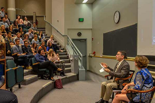 "At Harvard Medical School's Diversity Dialogue, questions for guest speaker speaker Mark Schuster ranged from how to find an LGBT mentor in the medical field to how to combat conscious and unconscious bias in the classroom or in the clinic. ""It's important to speak up when you can,"" said Schuster, who is the William Berenberg Professor of Pediatrics at HMS. Jessica Halem moderated the discussion."