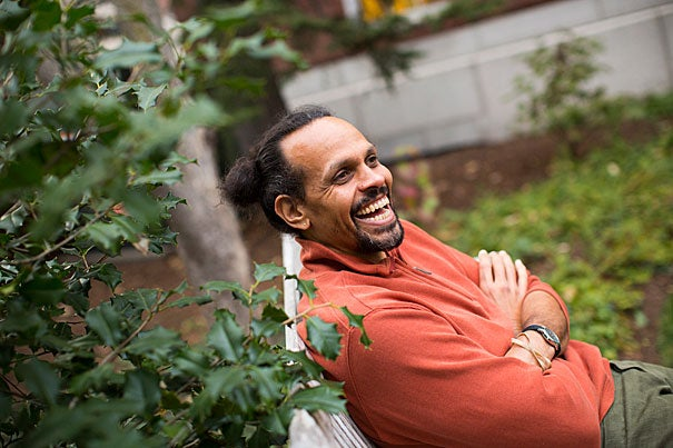 "Poet and Radcliffe Fellow Ross Gay is a finalist for the National Book Award for his latest book of poems, ""Catalog of Unabashed Gratitude."""