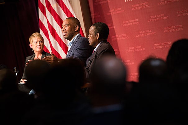Addressing a Harvard Kennedy School audience, MacArthur Fellow and best-selling author Ta-Nehisi Coates (center) argued that America's practice of disproportionately criminalizing and incarcerating African-American men is a direct extension of our history of using the criminal justice system to address social problems. Coates was joined by Kathryn Edin, a former HKS professor, and Harvard Professor William Julius Wilson.