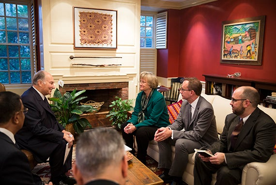 The Aga Khan meets with Harvard President Drew Faust in her Massachusetts Hall office at Harvard University. The Aga Khan (from left) is pictured during his visit with Drew Faust and Mark Elliott. Stephanie Mitchell/Harvard Staff Photographer