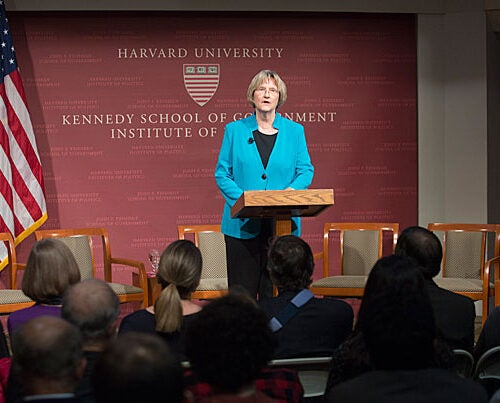 """A panel titled """"Bringing the Global Community to the Table: Paris 2015 U.N. Climate Change Conference"""" was introduced by President Drew Faust, who called for a moment of silence for the victims of the terrorist attacks in Paris."""