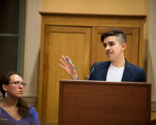 """""""Once incarcerated, we know that LBGT people report devastatingly high rates of sexual abuse,"""" said Chase Strangio, a staff attorney with the American Civil Liberties Union's Lesbian Gay Bisexual Transgender & AIDS Project during a discussion at Harvard's Barker Center that examined efforts to protect LBGT prisoners."""