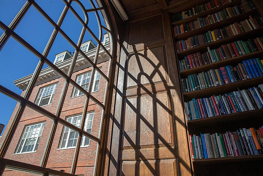 Dunster's House renewal is viewed through massive fan windows.