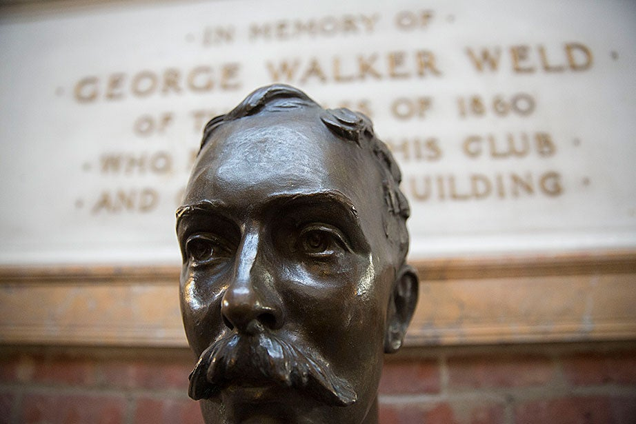 Detail of a bust of George Walker Weld, the boathouse benefactor.