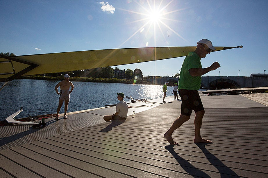Harvard Medical School's Mark Abelson (right) trains for the Head of the Charles Regatta.
