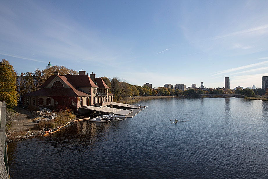 Overview of Weld Boathouse and Weeks Bridge.