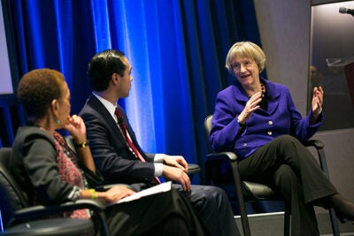 Marking HUD's 50th anniversary, Harvard President Drew Faust  (photo 1) reflected on continued efforts to battle inequality in housing with HUD Secretary Julian Castro, J.D. '00. Sharing in the discussion were Atlanta real estate developer Egbert Perry (from left, photo 2), former Atlanta Mayor Shirley Franklin, and Georgia Tech economics professor Thomas Boston. Faust toured the Center for Civil and Human Rights with founding CEO Doug Shipman, M.T.S. '01, M.P.P. '01 (photo 3).
