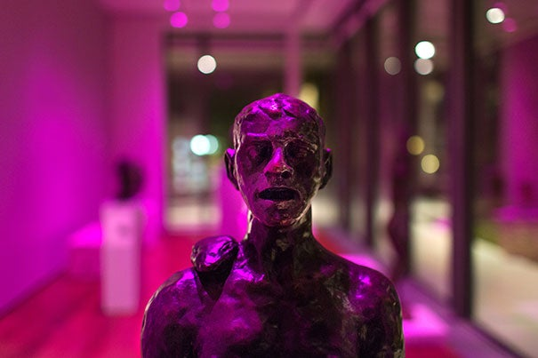 """The magenta is one of the colors associated with light in video,"" said artist Shahryar Nashat. Nashat moved and removed Harvard Art Museums' sculptures in order to create ""Private Practice."" Photo by Susan Young © President and Fellows of Harvard College"