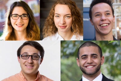 The five Harvard students among this year's 32 Americans chosen as Rhodes Scholars are Neil Alacha (clockwise from lower left), Grace Huckins, Rivka Hyland, Garrett Lam, and Hassaan Shahawy.