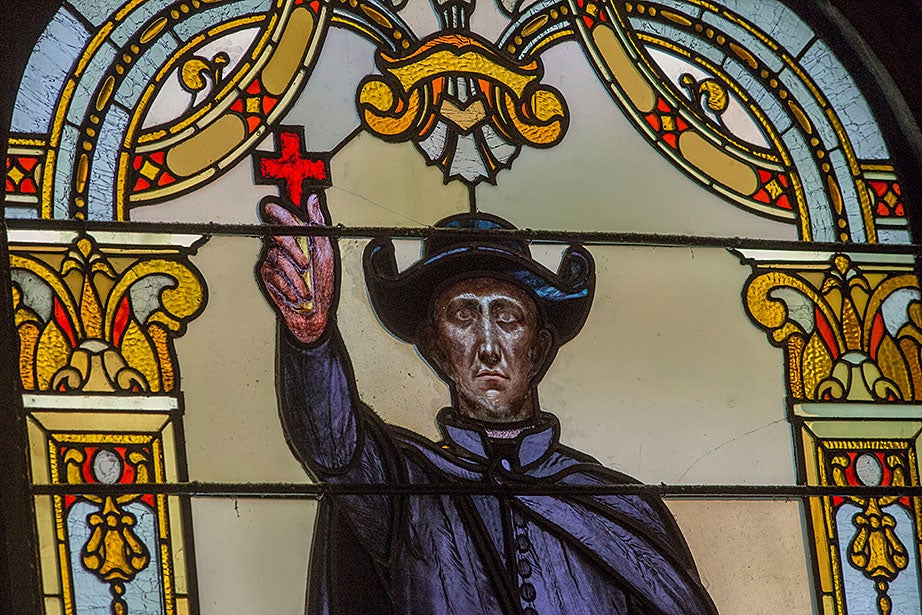 """Artist Charles Mills created """"La Salle and Marquette"""" in 1895. This image shows Jacques Marquette (1637-1675), a Jesuit missionary who worked with the Native Americans of Canada, particularly those around the Great Lakes."""