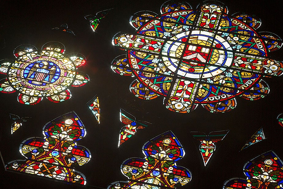 """In 1874, artist Donald MacDonald created """"The West Window,"""" a gothic panel inside Annenberg Hall."""