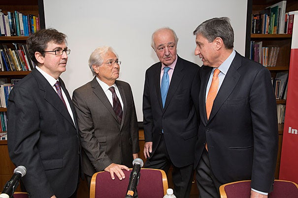 Before a packed room at Harvard's Instituto Cervantes Observatory of the Spanish Language, academics Juan Carlos Jiménez (from left) of the University of Alcalá in Spain, Nicolás Kanellos of the University of Houston, Emilio Gilolmo López of Fundación Telefónica, and José Luis Garcia Delgado of Complutense University of Madrid shared cautious optimism on the future of Spanish in the United States.