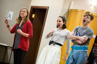 "Allegra Libonati (from left) directs actors Ali Stoner and Kyle VanZandt in a scene for the American Repertory Theater Institute's production of ""The Pirate Princess."""