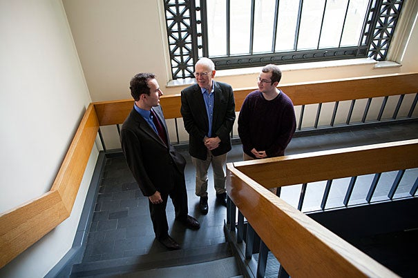 New research by postdoctoral fellow  Alexander More (from left), Francis Goelet Professor of Medieval History Michael McCormick, and Matt Luongo '17 found evidence of a deep, prolonged food shortage in the years leading to the Black Death.