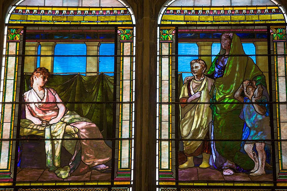 """Cornelia, Mother of the Gracchi"" was designed and manufactured by John La Farge in 1891."