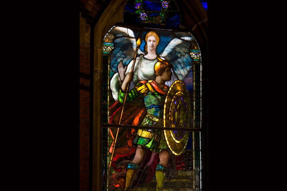 """""""The Battle Window,"""" another work by Sarah Wyman Whitman, commemorates those who surrendered their lives in the War of the Rebellion."""