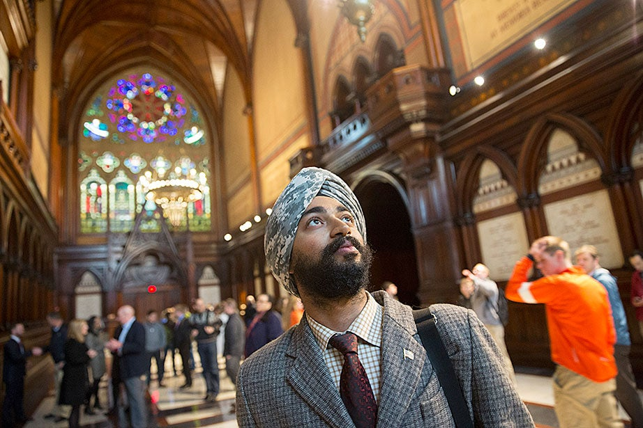 Extension School student Kanwar Singh '16 — a U.S. military veteran — visits Memorial Hall during the Official Harvard Military Tour. Singh's grandfather also served in the British military.