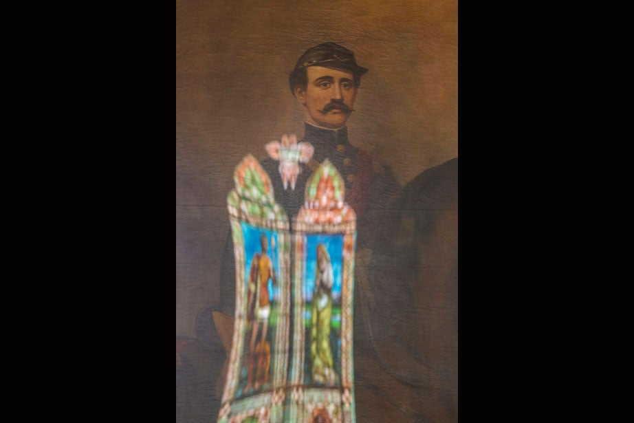 """Frederic Crowninshield's stained-glass masterpiece, """"Parting of Hector and Andromache,"""" is reflected in this William Sharp portrait of the brothers William Townsend Hodges (pictured) and George Foster Hodges (not pictured)."""