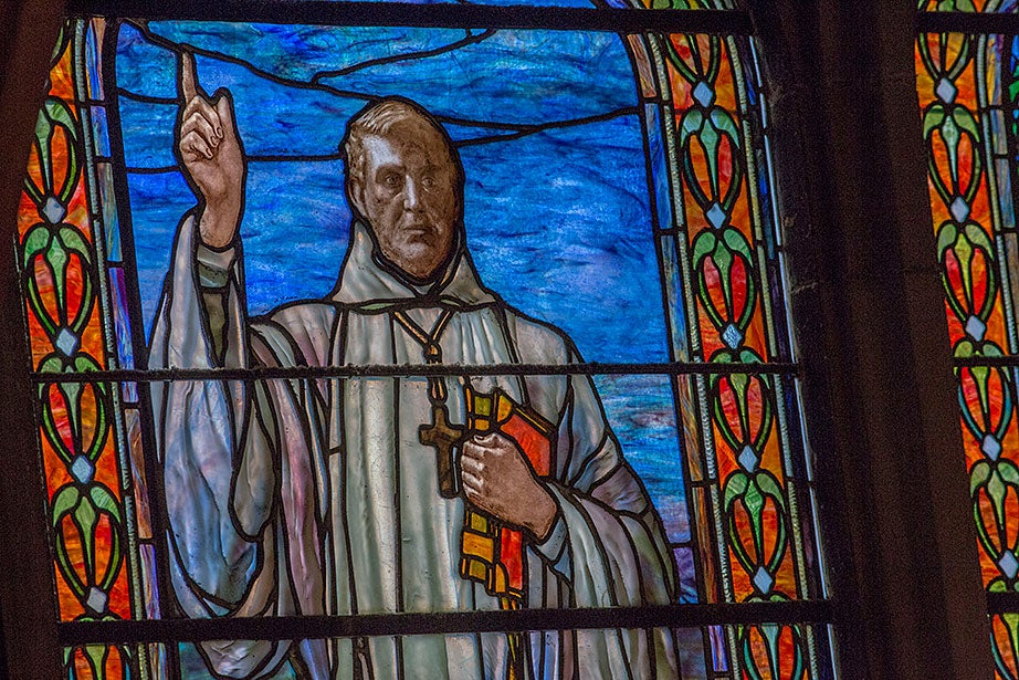 """In 1902, artist Edward Sperry created """"Bernard and Godefroy"""" inside Annenberg Hall. This is Bernard (1090-1153), a member of the Cistercian order of Benedictines, who founded the reformed and ascetic monastery of Clairvaux."""