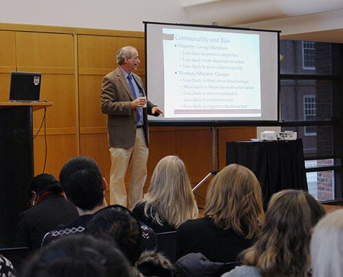 """John Dovidio, the Carl Iver Hovland Professor of Psychology at Yale University, was the guest speaker at the Faculty of Arts and Sciences' second Diversity Dialogue of the year. """"But I Don't See Color! Consequences of Racial Color-Blindness"""" was held Dec. 2 at Harvard Hillel."""