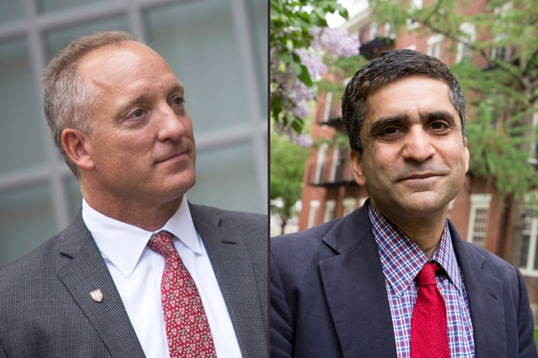 "Edgerley Family Dean of the Faculty of Arts and Sciences Michael D. Smith (left) and Harvard College Dean Rakesh Khurana discussed the history behind the term ""House master"" and its impending change."