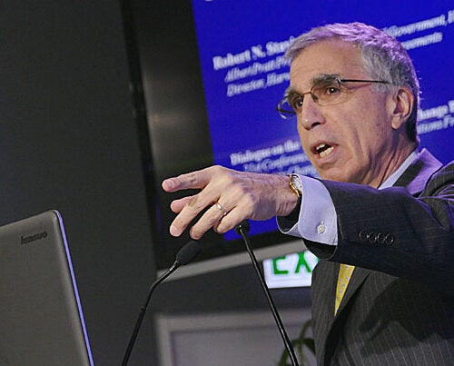 """""""I'm convinced from the research that we've done at the Harvard Project on Climate Agreements … that the linkage of regional, national and sub-national policies … can be part of the answer,"""" said Robert Stavins, the Albert Pratt Professor of Business and Government at Harvard Kennedy School and faculty director of the Harvard Project. Stavins spoke at a side-event panel discussion in Paris on Friday."""