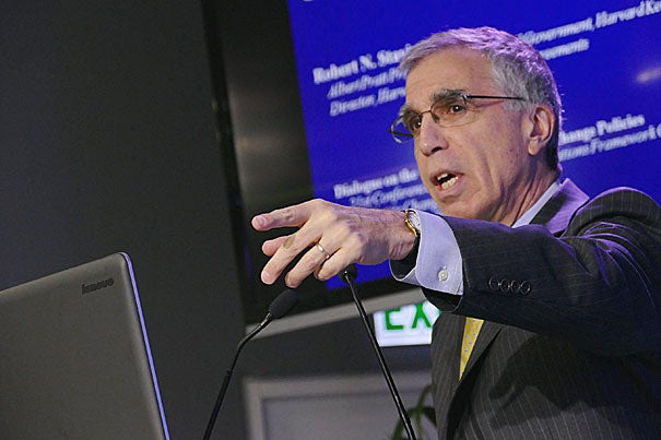 """I'm convinced from the research that we've done at the Harvard Project on Climate Agreements … that the linkage of regional, national and sub-national policies … can be part of the answer,"" said Robert Stavins, the Albert Pratt Professor of Business and Government at Harvard Kennedy School and faculty director of the Harvard Project. Stavins spoke at a side-event panel discussion in Paris on Friday."