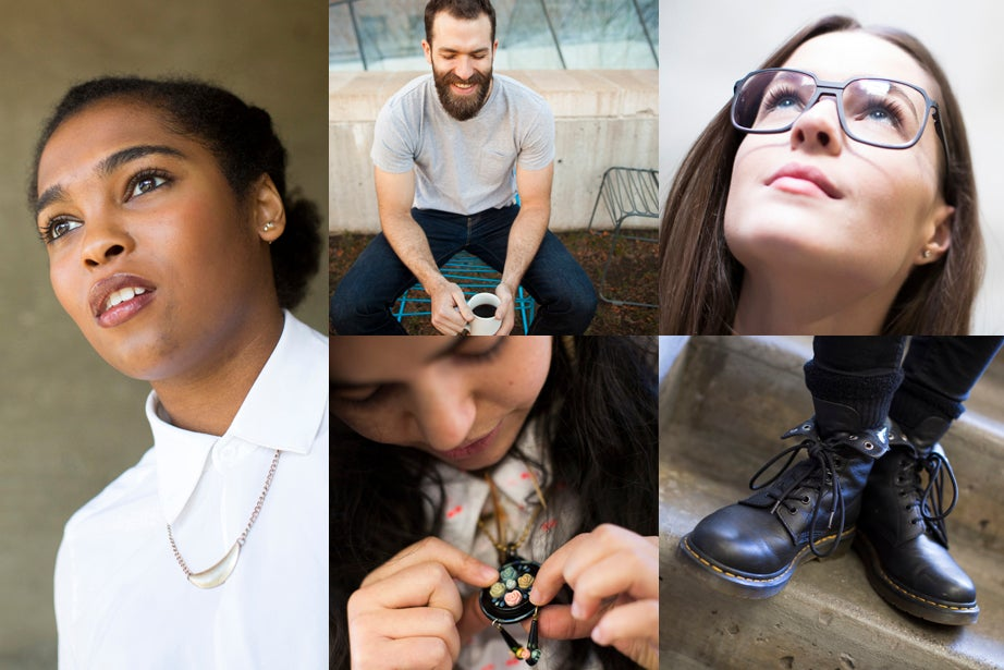 It's all in the little details for GSD students Dana McKinney (clockwise from left), Aaron Hill, Lauren McClellan, Cara Michell, and Sarah Kantrowitz.