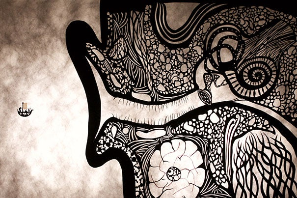 """Artistic collaborations like those with papercut artist Andrew Benincasa punctuated lessons in part three of """"Fundamentals of Neuroscience."""""""