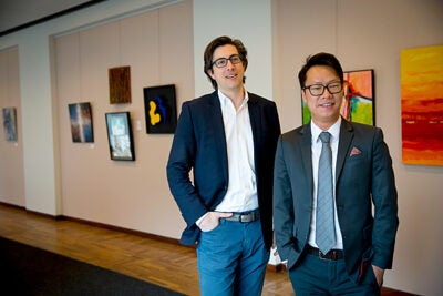 A new study from Harvard Kennedy School digs into China's biggest philanthropists. The Ash Center director of China Programs Edward Cunningham (left) and China Philanthropy project fellow at the Ash Center Peiran Wei are pictured at Harvard Kennedy School.
