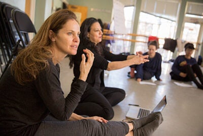"Amy Brenneman '87 (from left) and Sabrina Peck '84 teach ""Performing Our Experience: Tools for Creating Original Theater"" as part of the January Arts and Media Seminars sponsored by the Office for the Arts at Harvard."