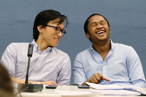 Bo Seo '17  (left) and Fanelesibonge Mashwama '17 in the octo-finals of the World Universities Debating Championship in Greece earlier this month. The pair ultimately won the tournament, which is the world's largest debating competition.