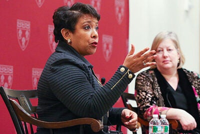 "U.S. Attorney General Loretta Lynch: ""And when you think about it, all of us, no matter where we're from … whether we are at Harvard Law School or whether we're working or whether we in fact may be behind bars, all of us need a helping hand at some time or another."""