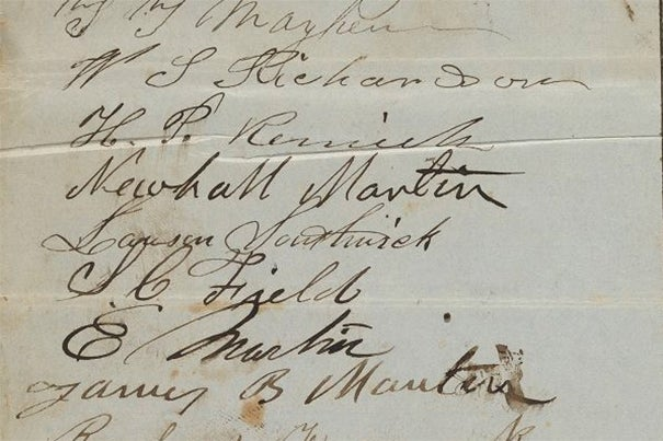 The Digital Archive of Native American Petitions in Massachusetts will build on the success of Harvard's Digital Archive of Anti-Slavery and Anti-Segregation Petitions (cropped petition pictured).