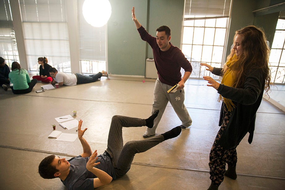 """Thomas Peterson '18 (from left), Connor Doyle '19, and Miriam Huettner '17 work together during """"Performing Our Experience: Tools for Creating Original Theater."""" Kris Snibbe/Harvard Staff Photographer"""