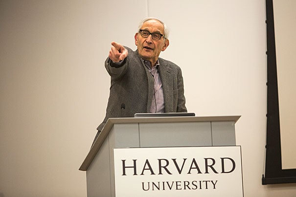 """""""When you get into a taxi, that's a contract,"""" said Harvard Law School Professor Charles Fried, who later answered questions during a talk at the Harvard Ed Portal."""