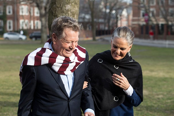 """Actors Ryan O'Neal and Ali MacGraw returned to Harvard to revisit the scene of their iconic movie """"Love Story,"""" while promoting their latest roles in A.R. Gurney's """"Love Letters."""""""