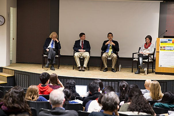 Jeremy Jackson (from left) of the Scripps Institution of Oceanography; Trevor Branch from the University of Washington; John Pandolfi, a research fellow at the University of Queensland's School of Biological Sciences; and Mary O'Connor, assistant  professor at the University of British Columbia were on a Harvard University Center for the Environment panel examining the human impact on ecological systems.