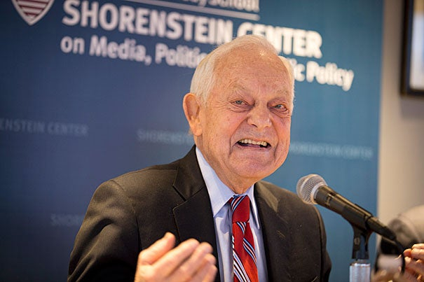 """The great sound you heard was a great sigh of relief from the Republican establishment when it became clear that Marco Rubio was going to run third in Iowa,"" veteran newsman Bob Schieffer told his Kennedy School audience. ""As of right now, I think you still have to say Trump is the favorite to get the Republican nomination."""