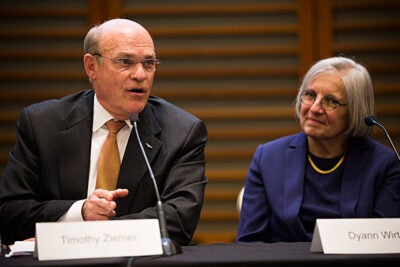 Rear Adm. Timothy Ziemer of the President's Malaria Initiative and Dyann Wirth, director of the Harvard Malaria Initiative, were part of a Harvard Global Health Institute panel on the quest to eradicate malaria.