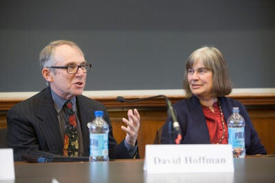 "David Hoffman and Jacqueline Olds joined a panel of experts at the Law School on ""Negotiating Love: Interpersonal Negotiation and Romantic Relationships,"" offering such advice as have a joint bank account, don't start using negotiation skills too early in a relationship, and never make assumptions."