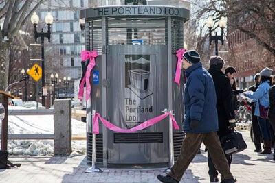 The new structure in the tiny triangular park across from First Parish Church is a Portland Loo, a sleek, stainless steel, flush toilet kiosk of a kind invented in the Oregon city and now exported to other locales.