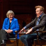 Conan O'Brien '85 shared a laugh or two with President Faust at Sanders Theatre.