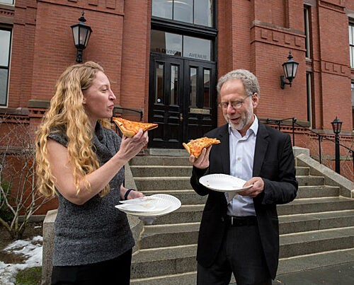 In a study on chewing, Katherine Zink (left), a lecturer working in the lab of Daniel Lieberman, the Edwin M. Lerner II Professor of Biological Sciences, found that our ancestors between 2 and 3 million years ago started to spend far less time and effort chewing by adding meat to their diets and using stone tools to process food.