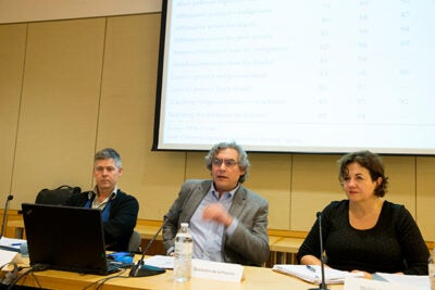Patrick Simon (from left),  Alejandro de la Fuente, and Michèle Lamont traced evolving attitudes toward race and discrimination in Latin America, Europe, and the United States in the second of four in a Weatherhead Center series on comparative inequality.