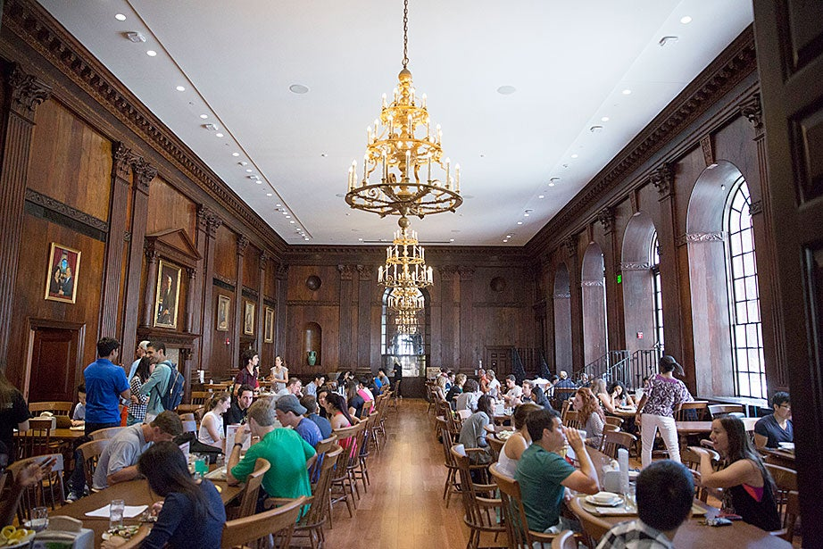 The Dunster House dining hall operates in full swing during lunch service. Kris Snibbe/Harvard Staff Photographer