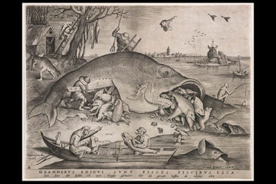 "Peter van der Heyden, after Pieter Bruegel the Elder, ""Big Fish Eat Little Fish,"" 1557. Engraving. Private collection."