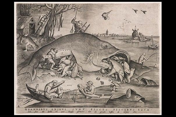 "Peter van der Heyden, after Pieter Bruegel the Elder, ""Big Fish Eat Little Fish,"" 1557. Engraving. Private collection."